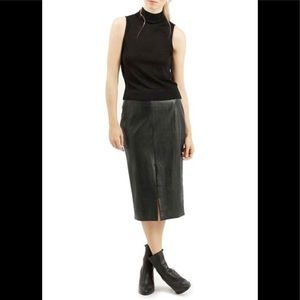TopShop Sz 2 Black Faux Leather Midi Pencil Skirt